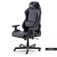 Fotele dla graczy, SELSEY Fotel gamingowy Jeremih czarna ekoskóra