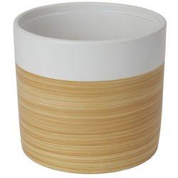 Doniczka ceramiczna GoodHome ozdobna 19 cm efekt drewna