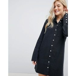 ASOS DESIGN denim shirt dress with deep cuff in washed black - Black