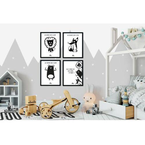 Plakaty, Zestaw 4 plakatów LISEK, MIŚ I LEW 30 x 40 cm