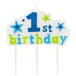 Świeczka na pikerach 1st Birthday niebieska - 1 szt.