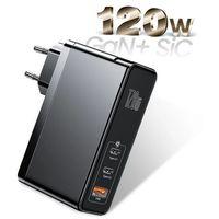 Smartbandy, Baseus GaN2 Pro   Ładowarka sieciowa 2x Type-C 1x USB-A 120W Power Delivery 3.0 Quick Charge 4.0 Huawei SCP Samsung Fast Charge 2.0 + kabel 100W