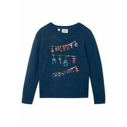 Sweter dziewczęcy z bożonarodzeniowym motywem z cekinami bonprix ciemnoniebieski