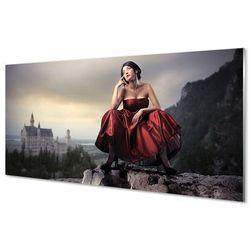 Obrazy akrylowe Kobieta góry suknia