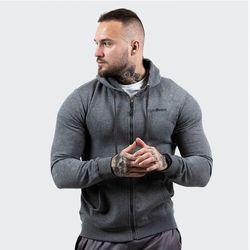 GymBeam Bluza Zipper Hoodie Grey Black
