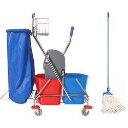 Wózek do sprzątania 2x17 l z uchwytem na worek i mopem sznurkowym Wózek do mycia podłóg z workiem na śmieci