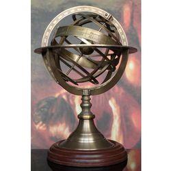 Mosiężne astrolabium na drewnianej podst
