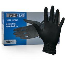 Nitrylowe rękawice ochronne Hygostar Safe Light, bezpudrowe, czarne, 100 szt - roz. L