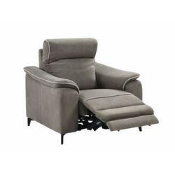 Fotel BACCI z elektryczną funkcją relaksu, z tkaniny – kolor ciemny szary