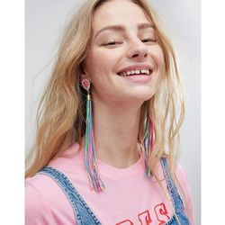 ASOS Statement Jewel Stone and Multicolour Tassel Earrings - Gold
