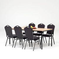 Meble do restauracji i kawiarni, Zestaw do stołówki, stół 1800x800 mm, buk + 6 krzeseł czarna tkanina/czarny