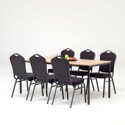 Zestaw do stołówki, stół 1800x800 mm, buk + 6 krzeseł czarna tkanina/czarny
