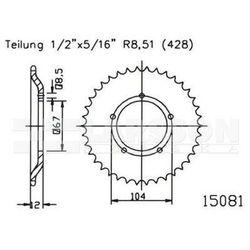 Zębatka tylna stalowa JT 50-15081-55, 55Z, rozmiar 428 2302583 Sachs X-Road 125