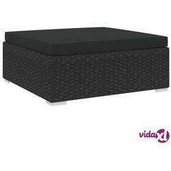 vidaXL Podnóżek do mebli modułowych, z poduszką, polirattan, czarny Darmowa wysyłka i zwroty