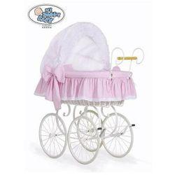Kosz mojżesza retro christine - biały + biało-różowa pościel z haftowaną koronką marki My sweet baby luxury