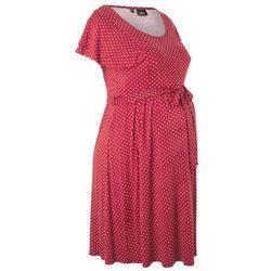 Sukienka shirtowa ciążowa bonprix czerwono-pomarańczowy w groszki, kolor czerwony