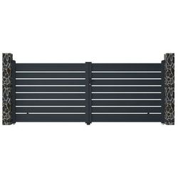 Brama wjazdowa rozwierna primo, ażurowa, z aluminium w kolorze antracytowym – 392 × 158 cm (szer. × wys.) marki Vente-unique.pl