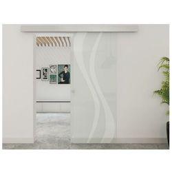 Vente-unique Zlicowane drzwi przesuwne irina – 205 × 83 cm (wys. × szer.) – szkło hartowane