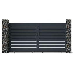 Vente-unique Brama wjazdowa primo, przesuwna, ażurowa, z aluminium w kolorze antracytowym – 350 × 176 cm (szer. × wys.)
