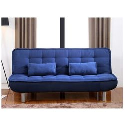 Kanapa rozkładana mishan z tkaniny - kolor: niebieski marki Vente-unique