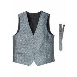 Bonprix Kamizelka + krawat (2 części) srebrnoszary paisley