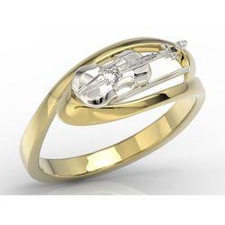 Pierścionek w kształcie skrzypiec z żółtego i białego złota z diamentem bp-1302zb marki Węc - twój jubiler