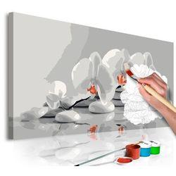 Obraz do samodzielnego malowania - orchidea (biel i szarość) marki Artgeist