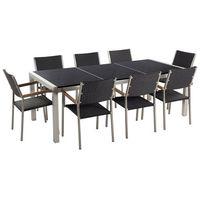 Zestawy ogrodowe, Meble ogrodowe - stół granitowy czarny polerowany 220 cm z 8 rattanowymi krzesłami - GROSSETO