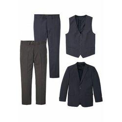 Garnitur 4-częściowy: marynarka + kamizelka + 2 pary spodni bonprix ciemnoniebiesko-szary melanż