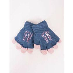Rękawiczki dziewczęce niebieskie podwójne ozdobne cekiny 14
