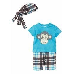 Koszulka + bermudy + bandana (3 szt.), bawełna organiczna bonprix turkusowy - małpka
