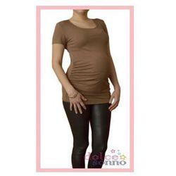Bluzka ciążowa podkreślająca brzuszek Cappuccino kr. Rękaw