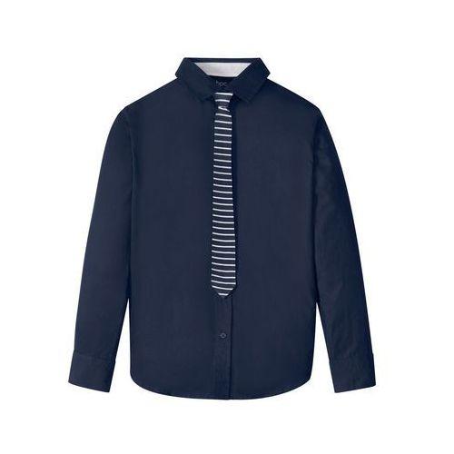 Koszule dla dzieci, Koszula z krawatem (2 części) Slim Fit bonprix ciemnoniebieski