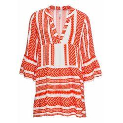 Krótka sukienka letnia bonprix głęboki pomarańczowy - biały wzorzysty