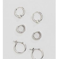 Icon Brand antique silver hoop earrings in 3 pack - Silver
