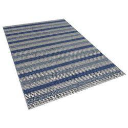 Dywan niebiesko-szary - 160x230 cm - wełna - chodnik - kilim - PATNOS