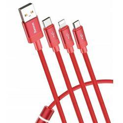 Baseus Data Faction 3-in-1 | Podświetlany kabel USB 3w1 iPhone Lightning Micro Type-C 3.5A 120cm | czerwony - Czerwony