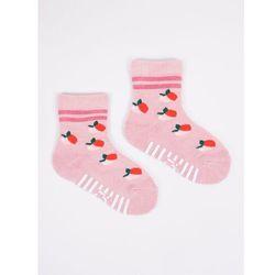 Skarpety bawełniane półfrotte dziewczęce szare pączki 17-19