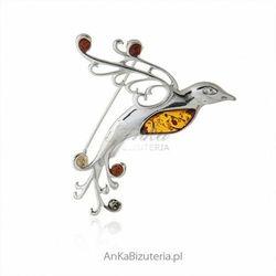ankabizuteria.pl Broszka srebrna z bursztynem - rajski ptak