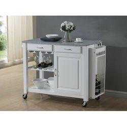 Duży barek kuchenny na kółkach OWEN - 1 szafka z drzwiczkami i 2 szuflady - Kauczukowiec i granit