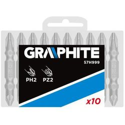 Końcówki wkrętakowe GRAPHITE dwustronne PH2 / PZ2 x 50 mm. 10 szt.