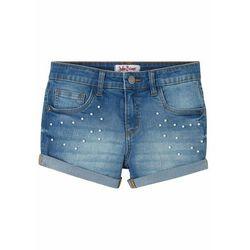 """Szorty dżinsowe dziewczęce z perełkami bonprix niebieski """"stone"""""""
