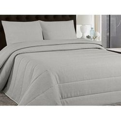 Pikowana narzuta na łóżko PEROGORD 230 × 250 cm i 2 poszewki 60 × 60 cm – kolor jasnoszary