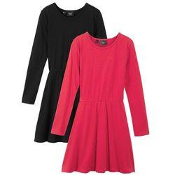 Sukienka dziewczęca z długim rękawem (2 szt.) bonprix czarny + czerwony