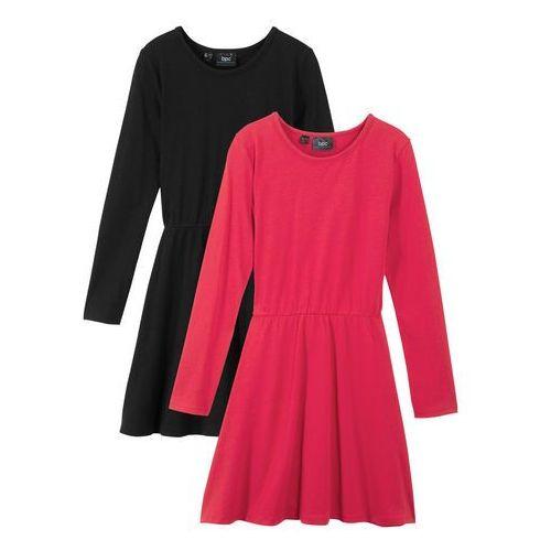 Sukienki dla dzieci, Sukienka dziewczęca z długim rękawem (2 szt.) bonprix czarny + czerwony