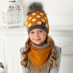 Komplet ajs 40-477 czapka+chustka rozmiar: 52-56, kolor: wielokolorowy, ajs