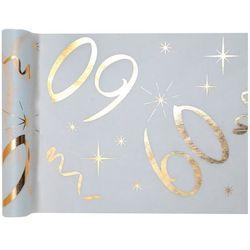 Dekoracja bieżnik na stół z nadrukiem na 60 urodziny - 30 cm - 1 szt.