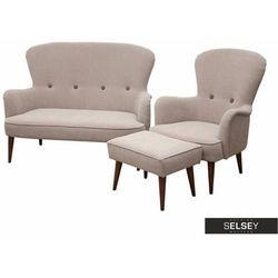 SELSEY Komplet wypoczynkowy Zardab sofa i fotel z podnóżkiem