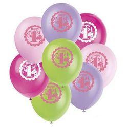 Balony pastelowe na roczek Safari różowe - 31 cm - 8 szt.