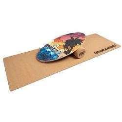 BoarderKING Indoorboard Allrounder, platforma balansowa + mata + wałek, drewno/korek, czerwona